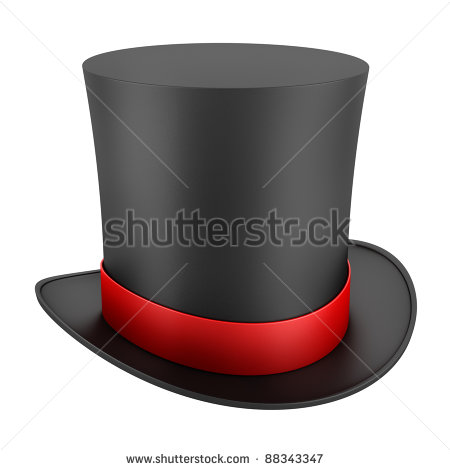Black Top Hat With Red Strip Isolated On White Background   Stock