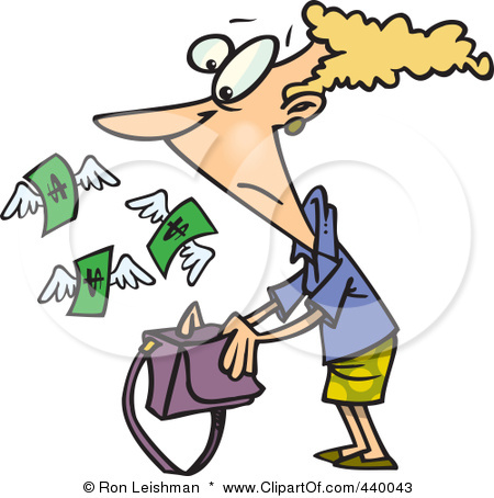 Clip Art Illustration Of A Cartoon Money Flying Out Of A Womans Purse