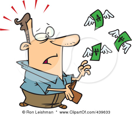 Clip Art Illustration Of Cartoon Dollars Flying Out Of A Mans Wallet
