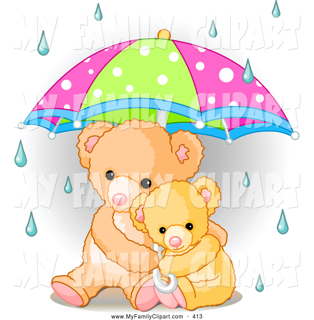 Clip Art Of A Cute Baby Teddy Bear Cuddling With Its Mother Under An