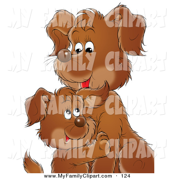 Clip Art Of A Sweet Brown Puppy Dog Cuddling With Its Mom Or Dad By