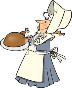 Clipart Image Of A Happy Pilgrim In A Bonnet With A Turkey
