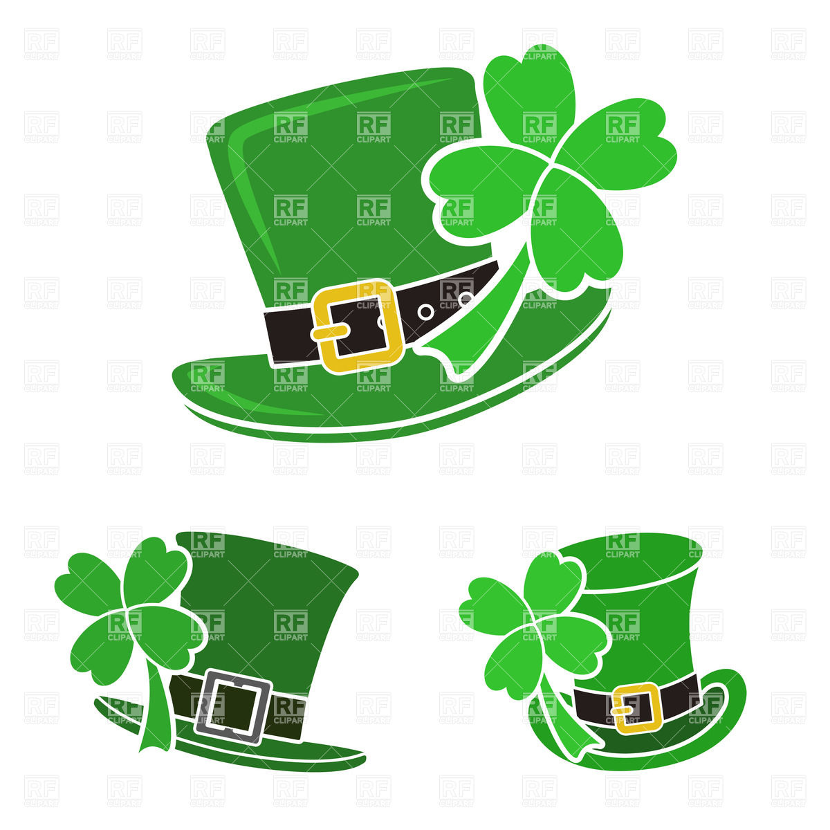Green Leprechaun S Top Hat With Shamrock   St  Patrick S Day Symbol