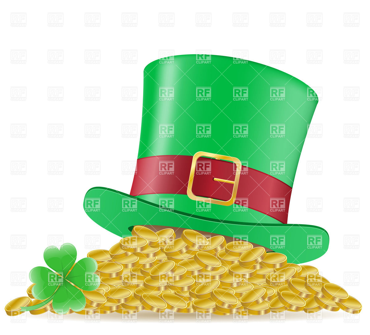 Green Top Hat On Heap Of Golden Coins   St  Patrick S Day Symbol