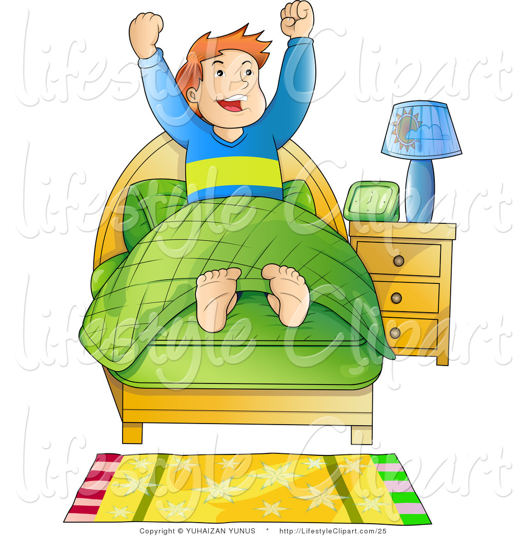Lifestyle Vector Clipart Of An Energetic Boy Waking Up First Thing In