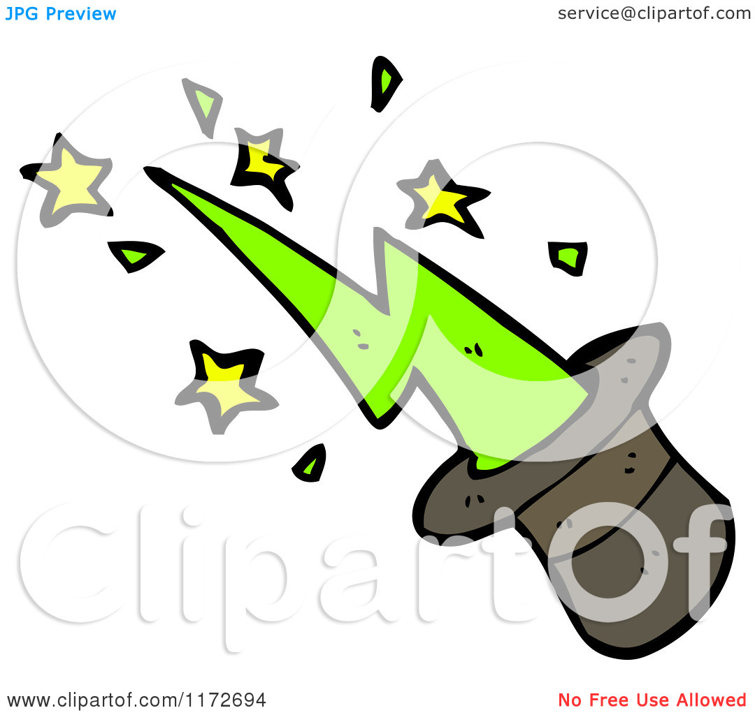 Of A Green Spark And Magic Top Hat   Royalty Free Vector Clipart