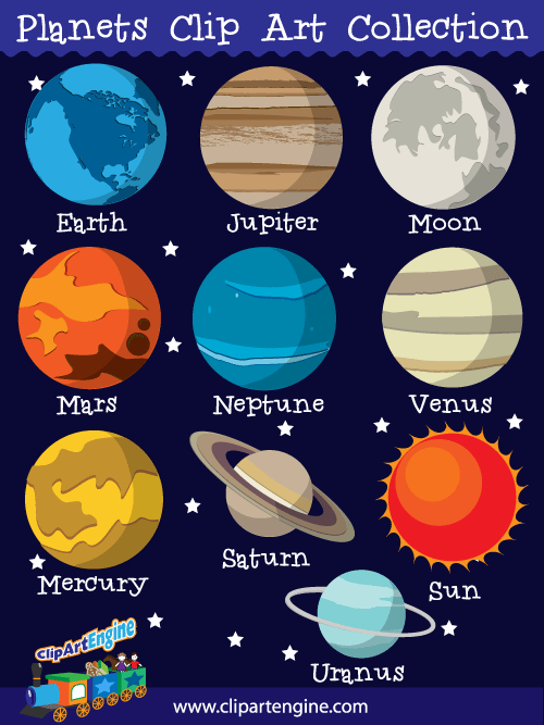 The 9 Planets Clipart - Clipart Kid
