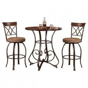 Scrolling Metal Framed Pub Table And Two Barstools With Curving