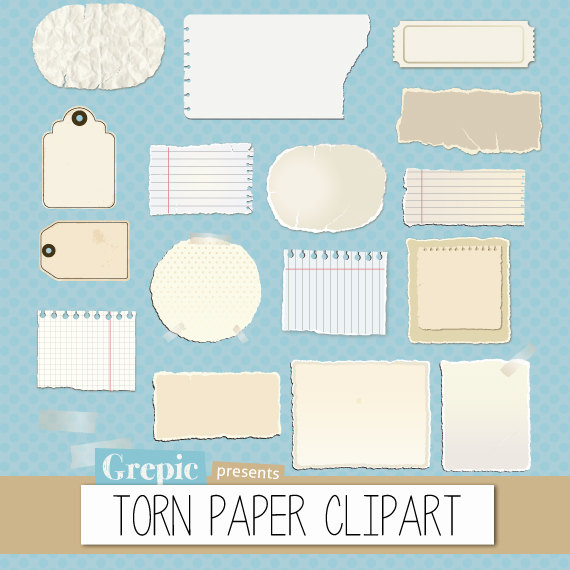 Torn Paper Clipart Pack  Torn Pieces Of Paper And Worn Out Post It