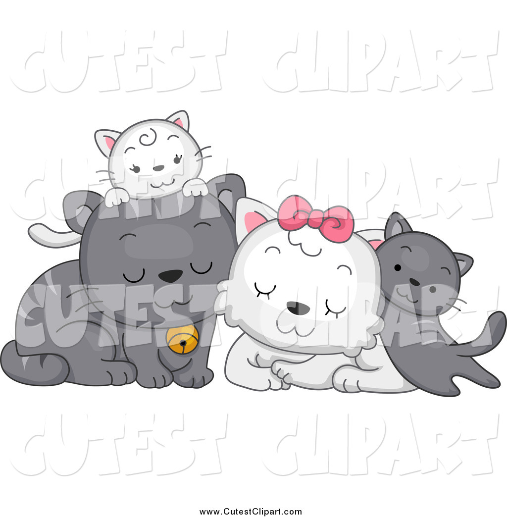 Vector Clip Art Of A Cute Cat Family Cuddling By Bnp Design Studio