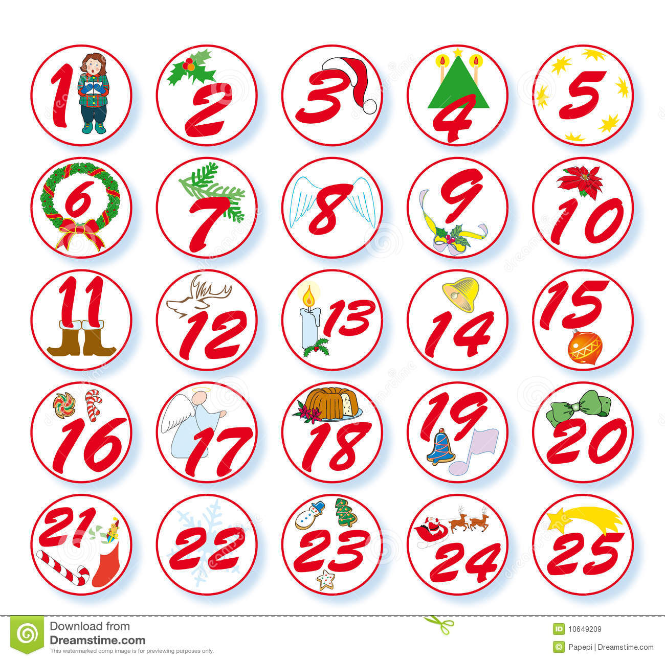 Advent Calendar With Numbers And Christmas Symbols Clipart
