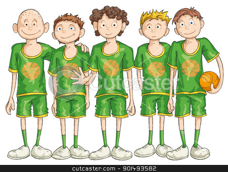 Basketball Team Stock Vector Clipart Five Basketball Players With The