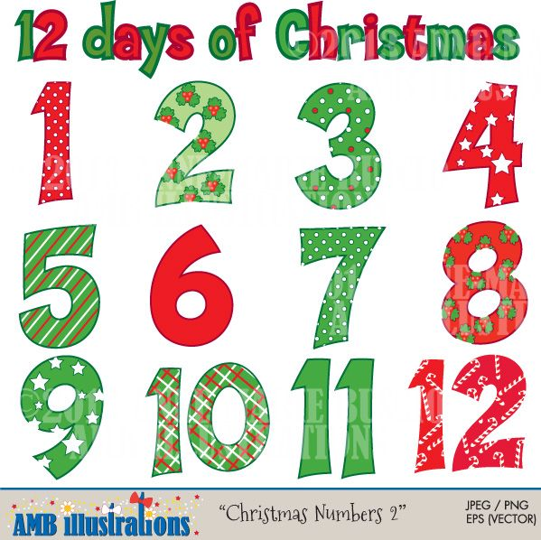 Christmas Numbers  Clipart  Clip Art  Ambillustration  Anne Marie