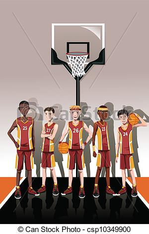 Clipart Of Basketball Team Players   A Vector Illustration Of A Team