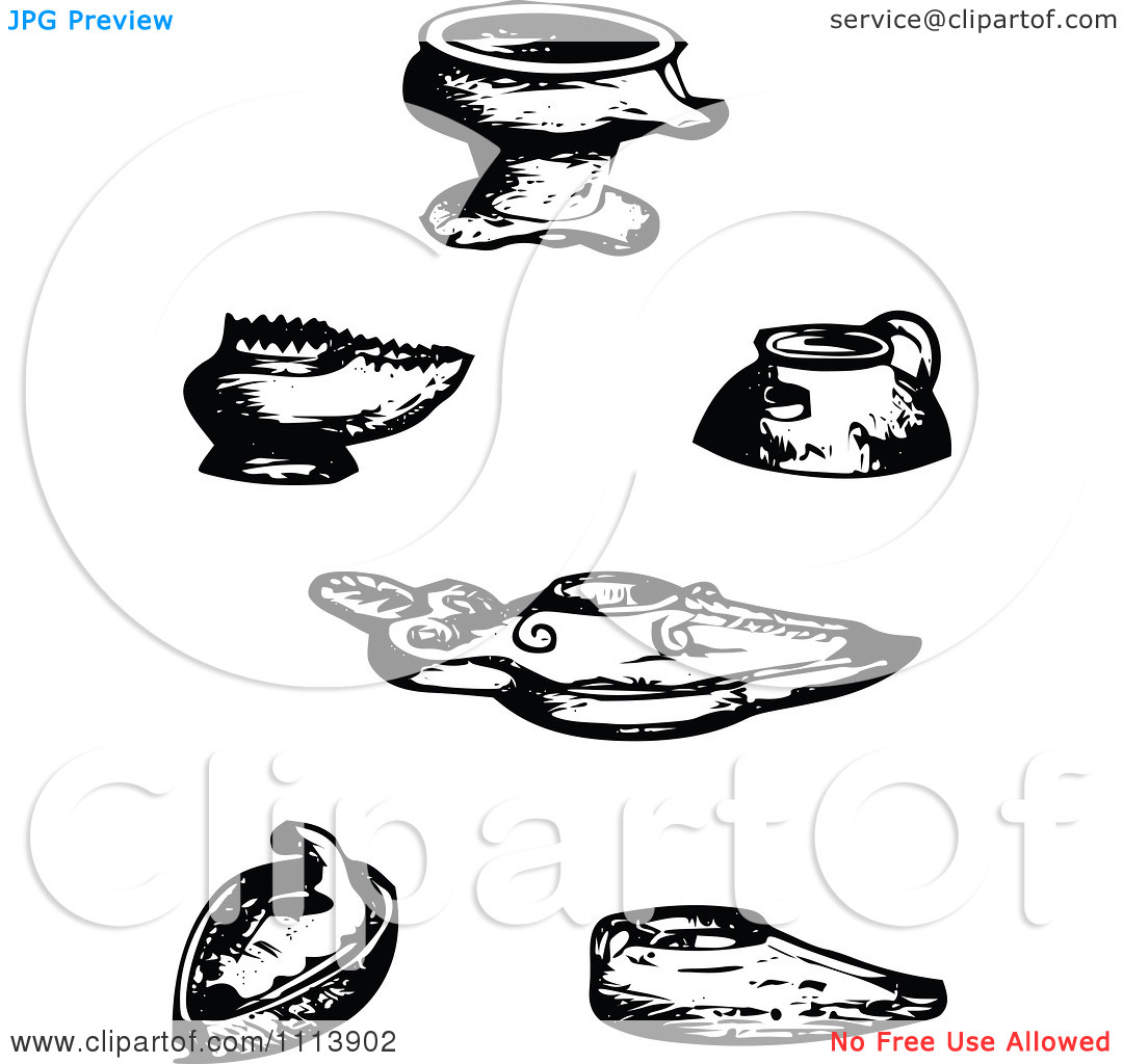 Clipart Vintage Black And White Ancient Assyrian Oil Lamps   Royalty