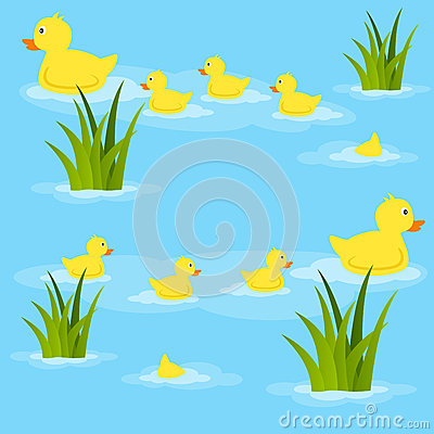 Duck Pond Clipart Ducks Pond Seamless Pattern