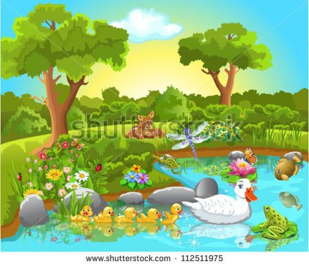 Duck Pond Game Clipart Ducks On The Pond   Stock