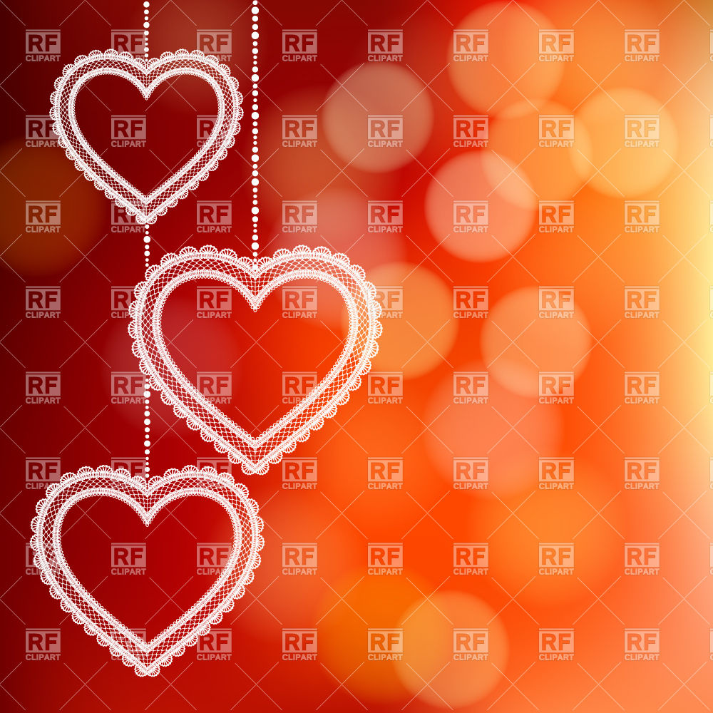 Hanging Lace Hearts On Orange Blurred Backdrop Download Royalty Free