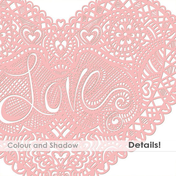 Lace Mother S Day Heart Graphics Lace Doily Clipart Hand Drawn