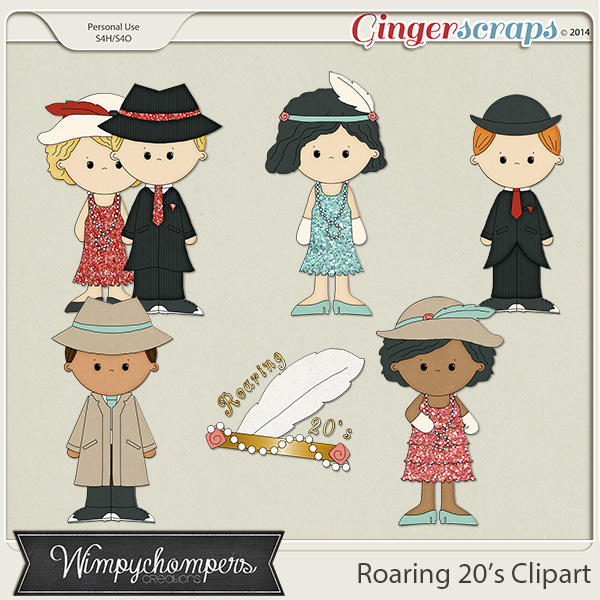 Roaring 20s Clipart Contains 6 Versions Of Each Of The People Shown