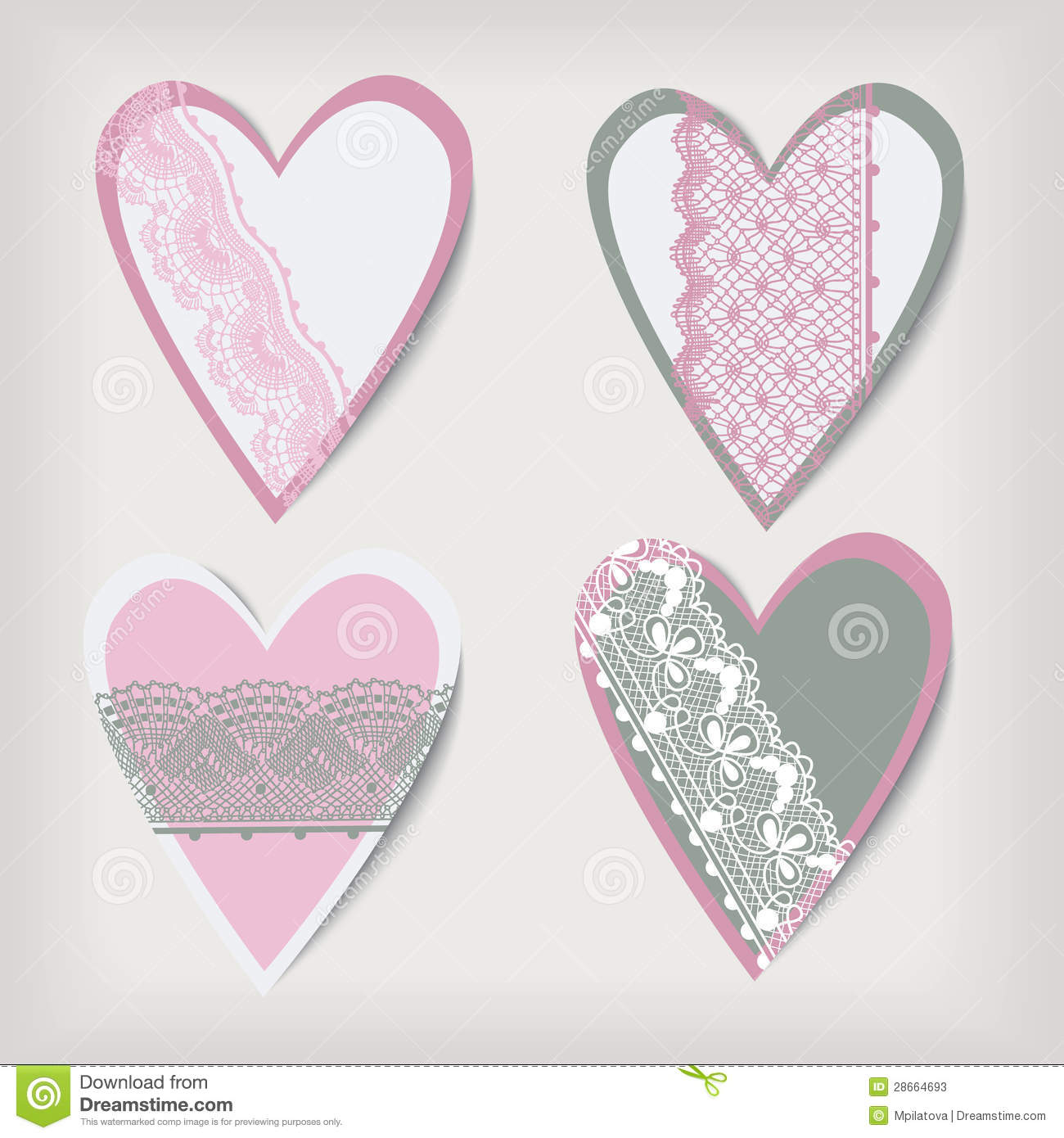 Set Valentine Lace Hearts Stock Photos   Image  28664693