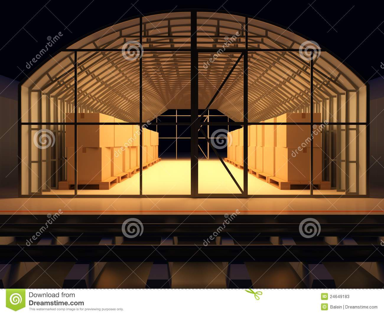 Storage Facilities  Warehouse Of Commodity  3d Render Illustration