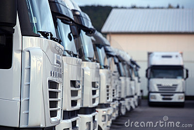 Trucks Parked In Depot Royalty Free Stock Image   Image  10377336