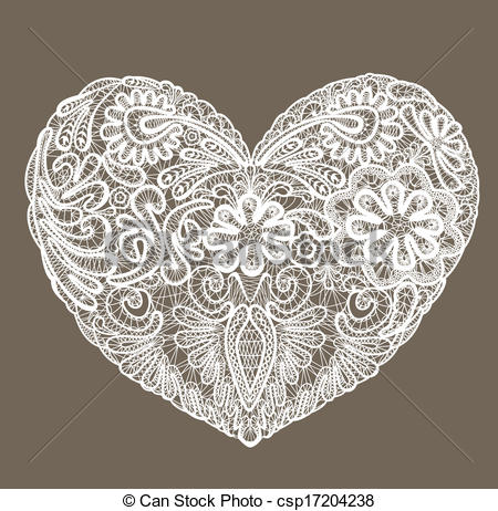 Vector   Heart Shape Is Made Of Lace Doily Element For Valentines Day