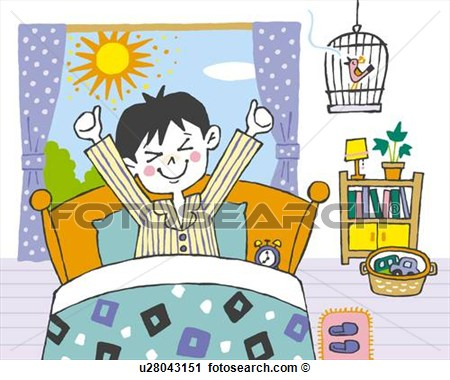 Boy Waking Up In The Morning Painting Illustration Illustrative