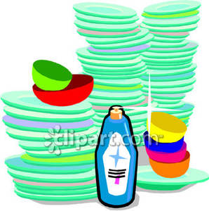 Clean Dishes And A Bottle Of Dish Soap   Royalty Free Clipart Picture