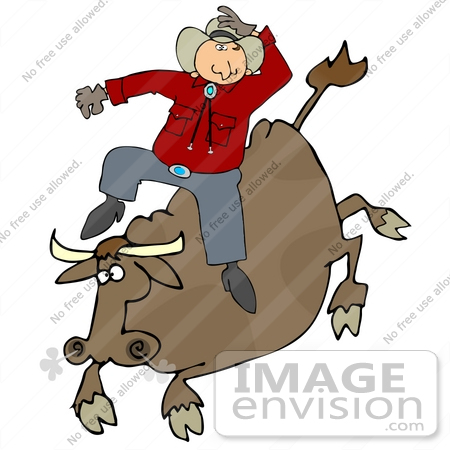 Clip Art Graphic Of A Cowboy Riding A Crazy Cow In A Rodeo    29854 By