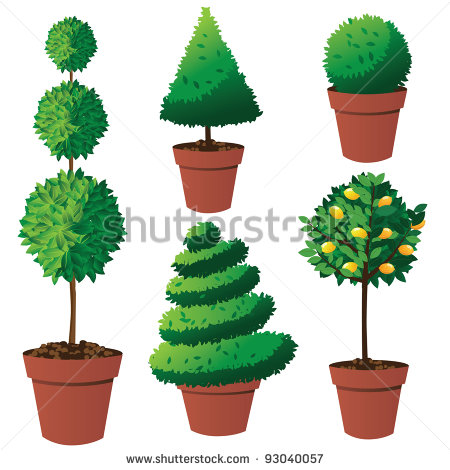 Potted Tree Clipart Potted Topiary Collection Eps