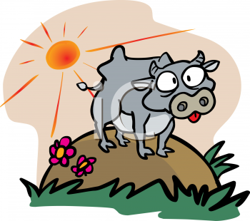 Royalty Free Clip Art Image  Crazy Cartoon Cow Standing On A Hill