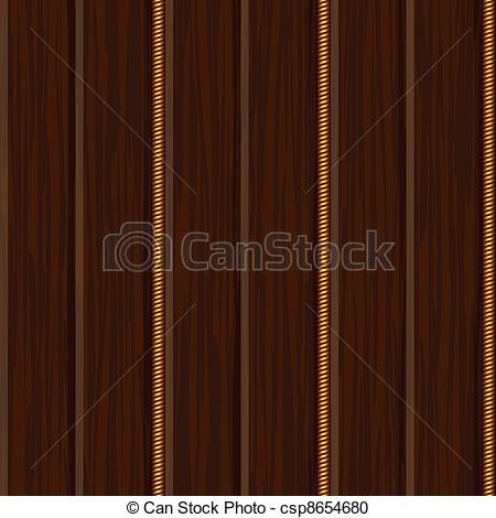 Vector Clipart Of Wood Wall Panel Texture With Gold Decor Csp8654680