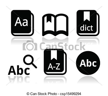 Vectors Of Dictionary Book Vector Icons Set   Thesaurus Dictionary