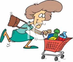 0709 2512 2730 Woman Hurrying With A Shopping Cart Clipart Image 1