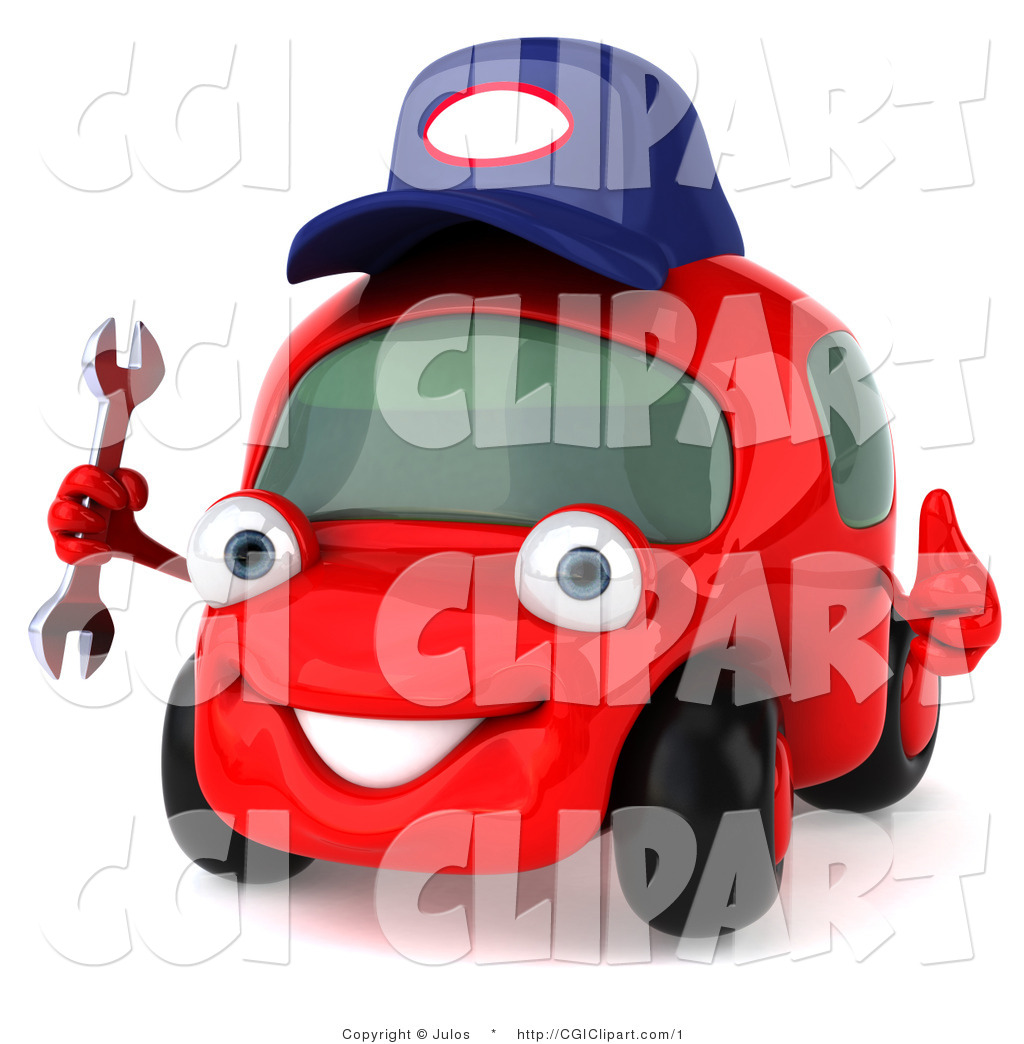 Clip Art Of A 3d Red Car Mechanic Character With A Wrench