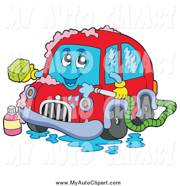 Clip Art Of A Happy Red Car Washing Itself By Visekart 1175 Jpg