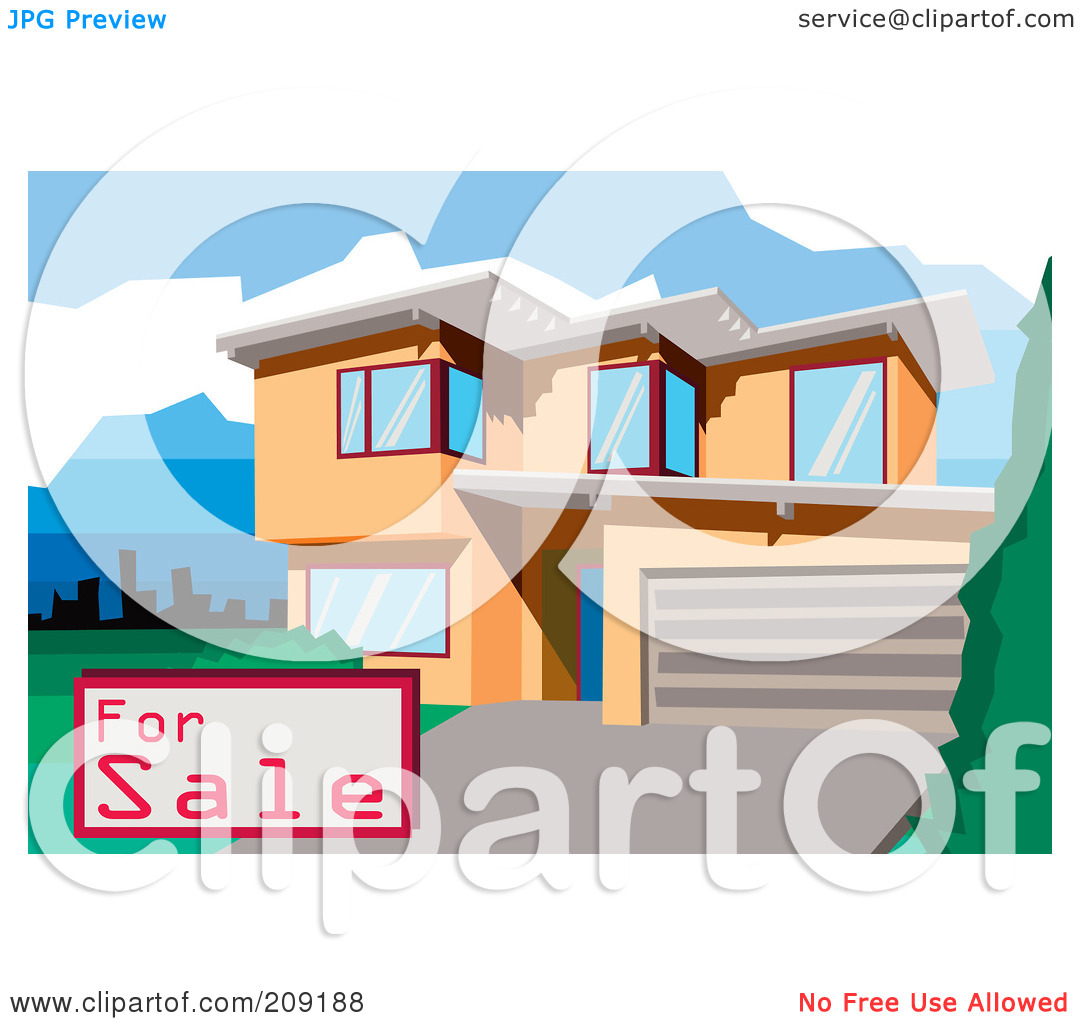 Clipart Illustration Of A For Sale Sign By A Multi Story Modern House
