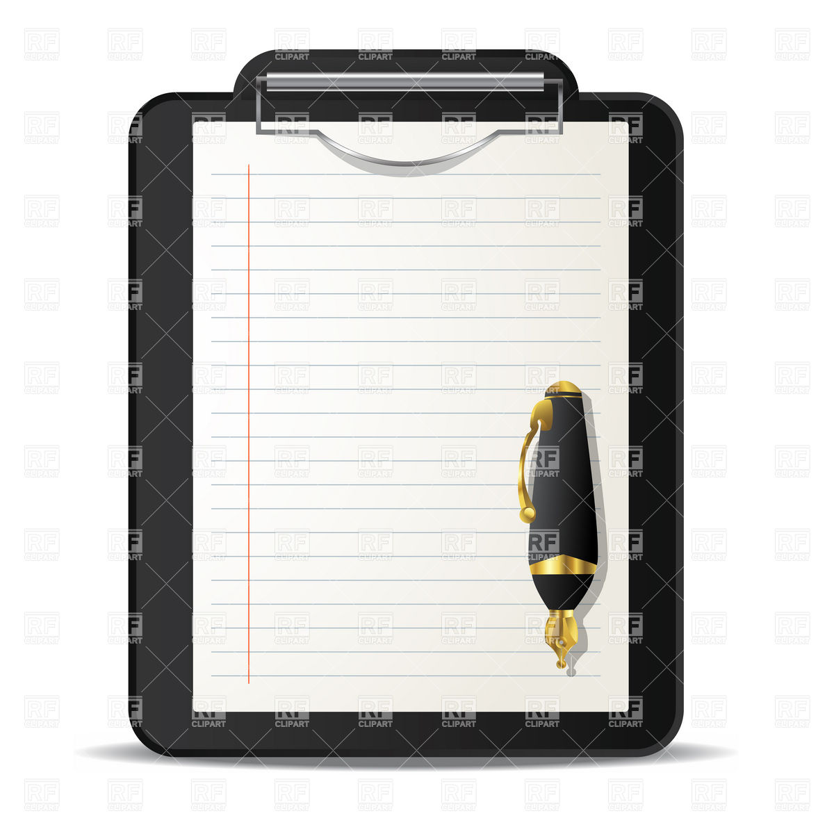 Clipboard And Ink Pen Over Download Royalty Free Vector Clipart  Eps