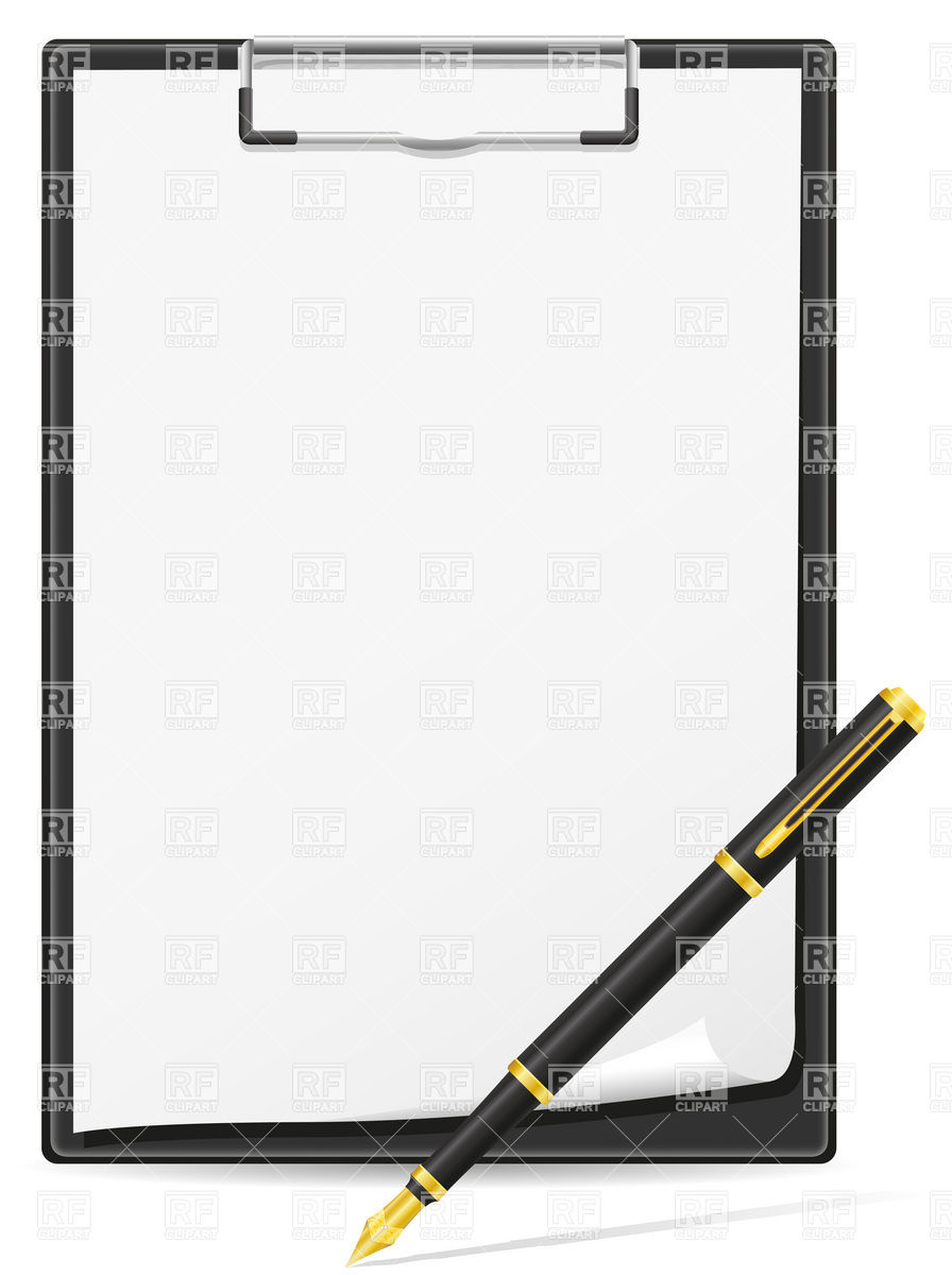 Clipboard Blank Sheet Of Paper And Pen Download Royalty Free Vector