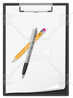 Clipboard With Blank Sheet Of Paper Pen And Pencil Objects Download