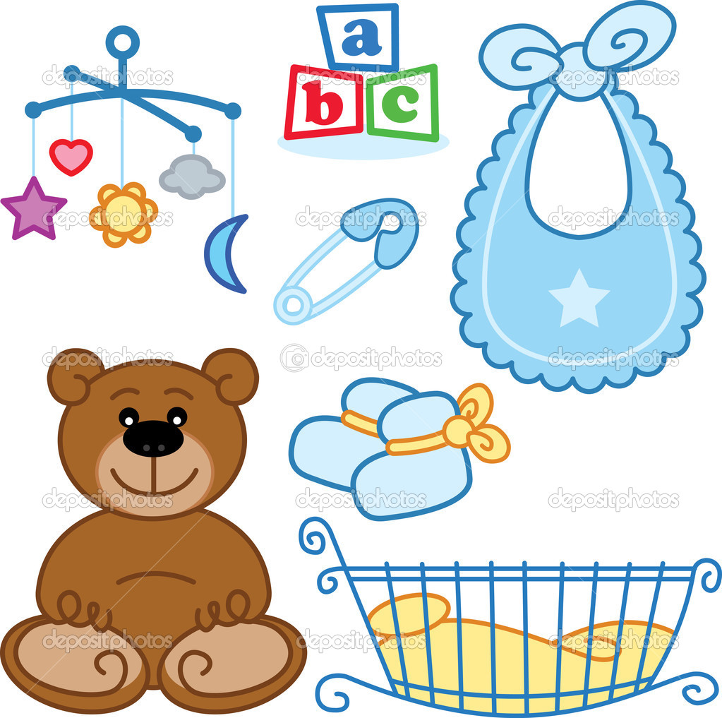 Cute New Born Baby Toys Graphic Elements   Stock Vector
