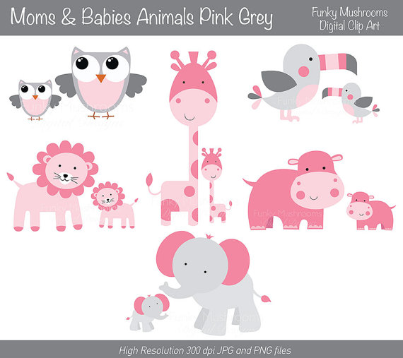 Digital Clipart   Moms And Babies Animals Pink Grey For Scrapbooking