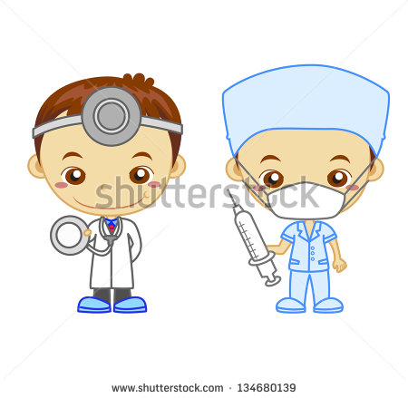 Doctor And A Nurse Isolated On White Background    Stock Photo
