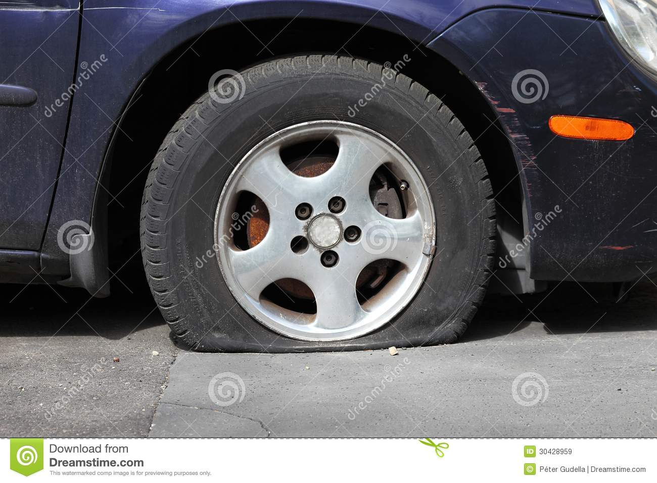 Flat Tire Royalty Free Stock Images   Image  30428959