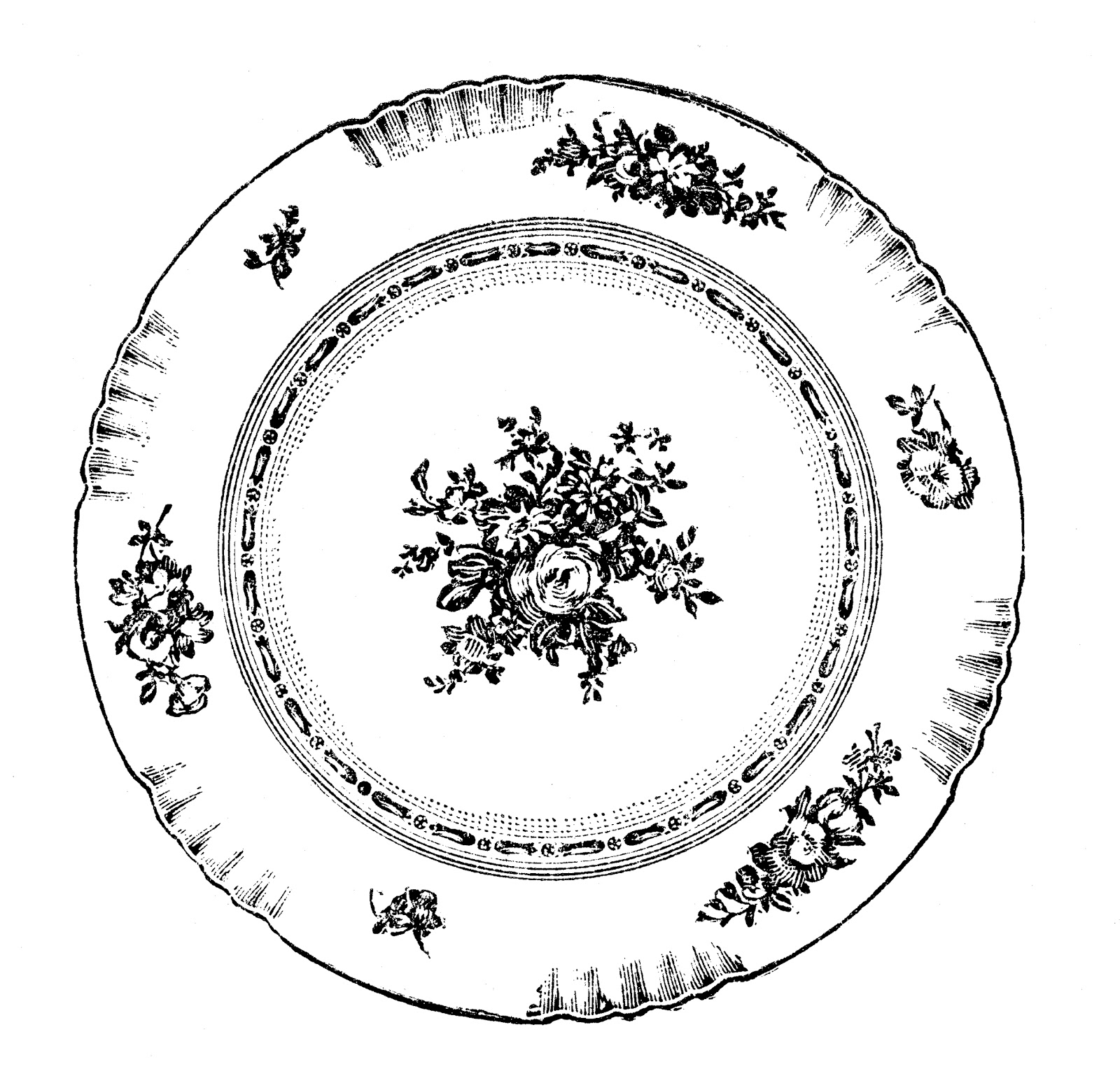 Free Vintage Clip Art Images  Vintage Plates And Dishes Clipart