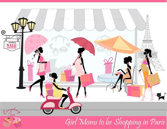 Girl Moms To Be Shopping In Paris Clip Art Set By 1everythingnice  5
