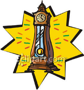 Grandfather Clock With Swinging Pendulum   Royalty Free Clipart