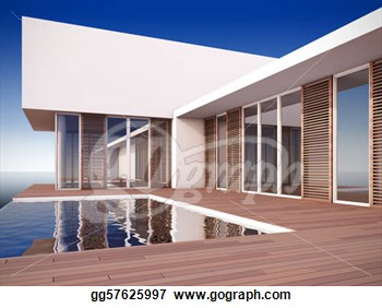 Illustration Of Modern House In Minimalist Style   Clip Art Gg57625997